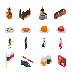 czech republic symbols isometric icons collection vector image