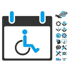 Disabled Person Calendar Day Icon With vector
