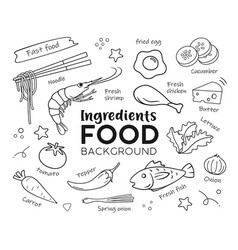 drawing food ingredients isolated on white vector image