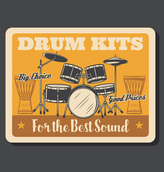 Drums percussion instruments rock music vector