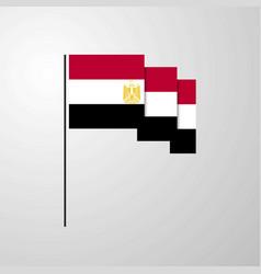 egypt waving flag creative background vector image