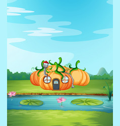 Enchanted pumpkin house in nature vector