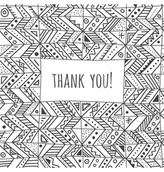 Ethnic style thank you card vector
