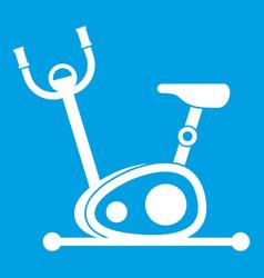Exercise bike icon white vector