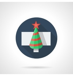 Fir-tree with red decor round flat icon vector image