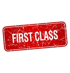 First class red square grunge textured isolated vector