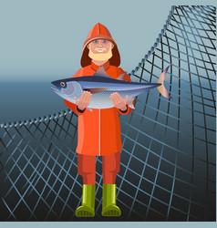 Fisherman holding fish vector