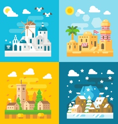 Flat design travel seasons set vector