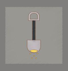 Flat shading style icon kids shovel sand vector