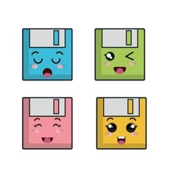 Floppy disk character icon vector