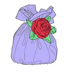 Gift bag with flower decoration vector