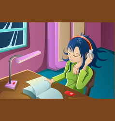 Girl reading a book while listening to music vector