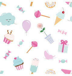 girly seamless pattern background with sweets and vector image