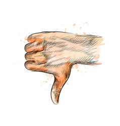 hand gesture thumbs down hand from a splash of vector image