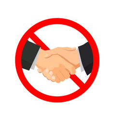 handshake with red forbidden sign on white vector image