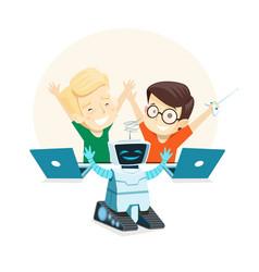 happy children run the robot in robotics class vector image