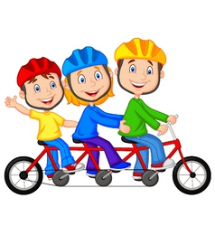 Happy family cartoon riding triple bicycle vector
