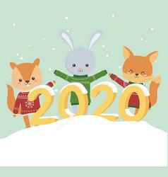 happy new year 2020 celebration cute rabbit bear vector image