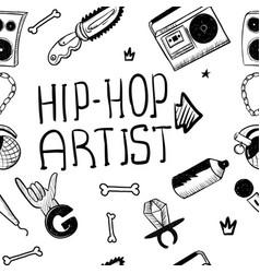 Hip hop artist hip hop doodle pattern with rap vector