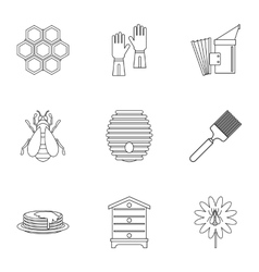 Honey production icons set outline style vector