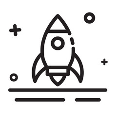 icon rocket start up launcher icon modern outline vector image
