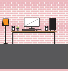 Interior design office work with computer vector