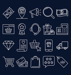 Internet shop icon set in line style vector