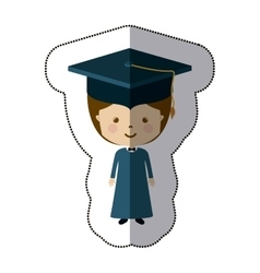 Isolated boy with graduation cap design vector