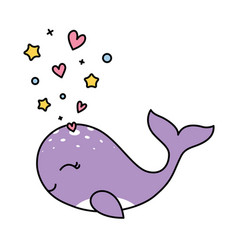 Isolated pastel whale love concept black outline vector