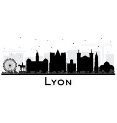 lyon france city skyline silhouette with black vector image