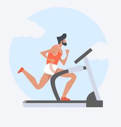 man attractive running on treadmill vector image