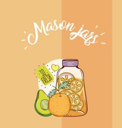 mason jars juice vector image