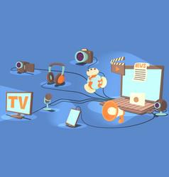 Media horizontal banner channels cartoon style vector