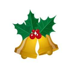 Merry christmas leaf with golden bell vector