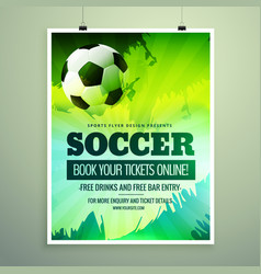 Modern sports flyer design with football in green vector