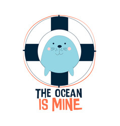monk seal for a t-shirt design vector image