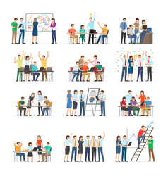 Office workers collaboration collection on white vector