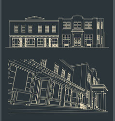 Old historical building and streets vector