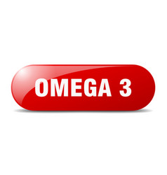 Omega 3 button sticker banner rounded glass sign vector