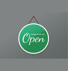 open sign for door placard plate text flat vector image