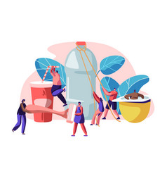 People characters using plastic things vector
