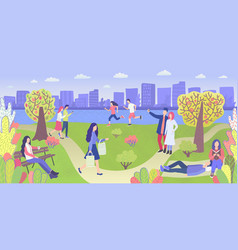 People in city park leisure and activity vector