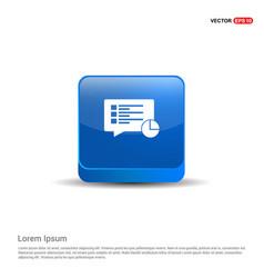 pie graph icon - 3d blue button vector image