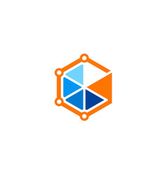 polygon technology colored logo vector image