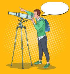 Pop art happy man looking through a telescope vector