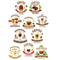 Premium quality coffee beverages symbols vector image
