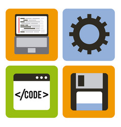 program coding set icons web design vector image