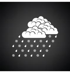 Rain with snow icon vector