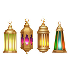 ramadan lanterns muslim islamic vintage lamps 3d vector image