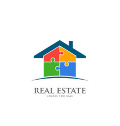 real estate house in puzzle pieces logo design vector image